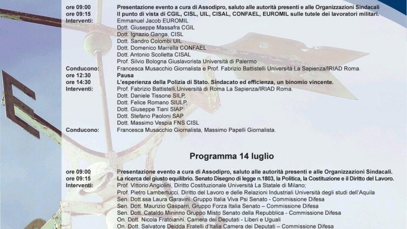 Più Sicurezza con giusti Diritti Roma, 13 e 14 luglio 2021 Centro Congressi Frentani Stati Generali dei Sindacati Militari